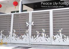 Gate Design, Door Design, Cnc Cutting Design, Peace Lily, Steel Doors, Fence, Creative, Outdoor Decor, Model