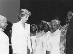 Princess Diana (second left) is introduced to National Dance Theatre Company Singers by musical director Marjorie Whylie (left) at a rehearsal in the Assembly Rooms in Edinburgh where the NDTC appeared to critical acclaim as part of the Commonwealth Arts Festival in 1986.