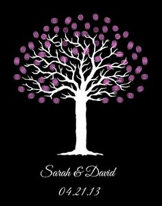 Wedding Ideas...For purple wedding! Wedding ideas for purple wedding! Printable Custom Tree Wall Art Fingerprint by DigitalConfectionery, $15.00