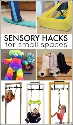 Sensory hacks for small spaces - great idea for kids with autism and/or sensory processing disorder from And Next Comes L Tap the link to check out fidgets and sensory toys! Sensory Therapy, Sensory Tools, Sensory Diet, Sensory Issues, Sensory Boards, Diy Sensory Toys, Sensory Swing, Sensory Wall, Sensory Disorder