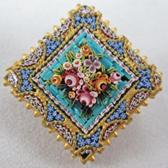 Italian Gold Tone and Micro Mosaic Bouquet Pin Brooch Vintage