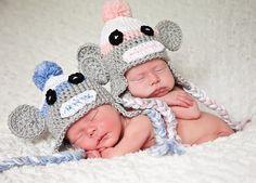 Newborn Twin Boy Girl Sock Monkey Hats Photo Prop