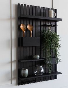 Wooden Multi Shelf at Rose & Grey. Buy online now from Rose & Grey, eclectic home accessories and stylish furniture for vintage and modern living Black Shelves, Wood Shelves, Contemporary Storage Furniture, Contemporary Art, Garden Shelves, Diy Hanging Shelves, Wooden Bathroom, Vintage Storage, Wood Slats