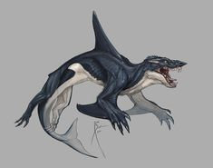 """Okay I think I'll finally post these :'D since I keep seeing new posts of them floating around!""""Whalewolf"""" concept art for the new Sharktopus movie coming out this July! Mythical Creatures Art, Alien Creatures, Mythological Creatures, Magical Creatures, Monster Concept Art, Fantasy Monster, Monster Art, Creature Concept Art, Creature Design"""
