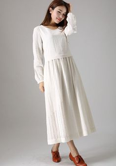 White linen dress woman casual maxi dress day dress by xiaolizi, $89.00