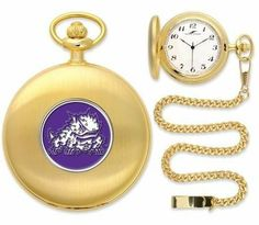 "TCU Texas Christian Pocket Watch by SunTime. $49.95. Unisex Adults. Officially Licensed TCU Horned Frogs Pocket Watch. 12"" Chain. Japanese Quartz-Accurate Movement. Metal Cover. TCU Texas Christian Pocket Watch. The classically styled Pocket Watch is thoughtfully crafted and is a superior quality timepiece. The Horned Frogs pocket watch comes with a matching 12"" chain. The watch features a quartz-accurate Japanese movement to display time on our traditionally styled watch fa..."