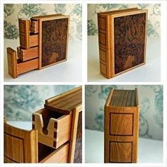 No. 4 in a series of keepsakes boxes. This one is made from walnut burr veneer for the cover. The spine is made of Oak with Walnut inlay.