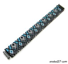 Bead Weaving Pattern for a bracelet. Teal, grey, black seed beads. A unique pattern.