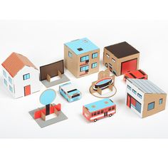 Paper Town, Blue   Each Paper Town set contains four sheets of recycled cardboard printed with colorful, die-cut objects that easily pop out and fold into 3D.   No glue or scissors necessary!  Though they're only cardboard, the objects are quite resistant and difficult to destroy. Paper Town is fully recycled, and unlike most real towns — environmental friendly!