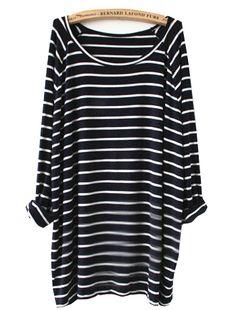 Camiseta rayas manga larga-blanco y marino 15.63