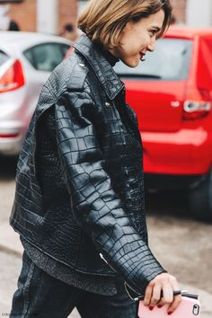 leather jacket street style