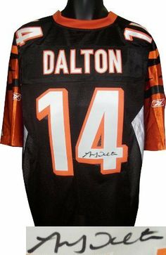Andy Dalton signed Cincinnati Bengals Black Reebok Premier EQT Jersey- Dalton Hologram . $283.86. On April 29, 2011, Andy Dalton was selected by the Cincinnati Bengals with the third pick of the second round of the 2011 NFL Draft. Dalton was named as a Pro Bowl Alternate in his first year, and was added to the AFC Pro Bowl roster after the New England Patriots won the AFC Championship, forcing Tom Brady to withdraw. Andy Dalton has hand signed this Cincinnati Bengals...