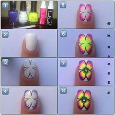 Trendy Nails Art Step By Step Butterfly 38 Ideas Fancy Nails, Cute Nails, Pretty Nails, Butterfly Nail, Flower Nail Art, Nail Art Diy, Diy Nails, Neon Nails, Nail Art Designs