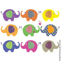 Elephant Clip Art Elephant Theme Digital Animals Clipart Cute Pink Purple Classroom Teacher Scrapbook Birthday Commercial Personal Use 10424