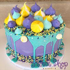 Super fun aqua and purple drip cake with meringue kisses on top! Cheesecakes, Cupcakes, Cupcake Cakes, Aqua Cake, 12th Birthday Cake, School Cake, Meringue Kisses, Birthday Cake With Flowers, Tiramisu Cake