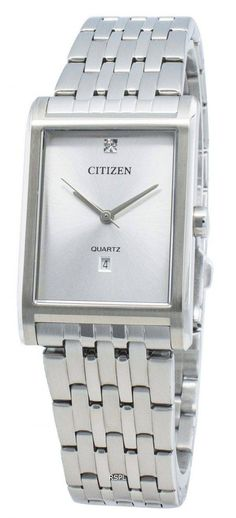 Features:  Stainless Steel Case Stainless Steel Bracelet Quartz Movement Mineral Crystal Silver Dial Analog Display Diamond Accents Date Display Screw Down Crown Solid Case Back Deployment Clasp  Approximate Case Diameter: 26mm Approximate Case Thickness: 7mm