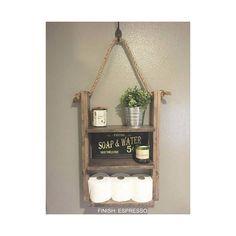 Bathroom Shelf Hanging Ladder Shelf Rustic Wood and Rope