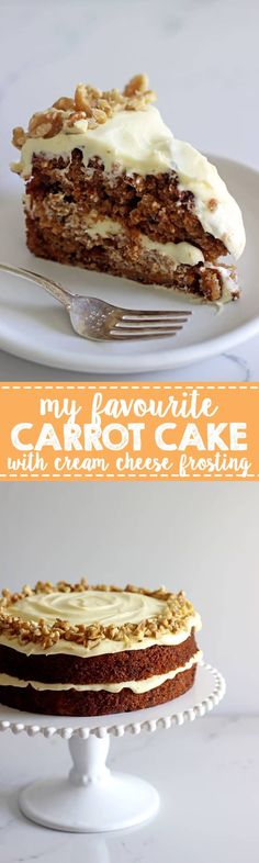 My all time favourite Carrot Cake recipe - loaded with grated carrot, crushed pineapple, crunchy walnuts and smothered in cream cheese frosting, this will become your favourite carrot cake recipe too! Baking Recipes, Cake Recipes, Dessert Recipes, Pastries Recipes, Cake With Cream Cheese, Cream Cheese Frosting, Carrot And Walnut Cake, Kiwi, Delicious Desserts