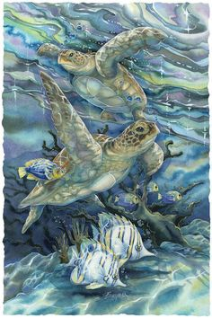 Sea Tranquility by Jody Bergsma--Love the colors of the water-possibility for water surrounding my green sea turtle tattoo. Sea Turtle Art, Turtle Love, Sea Turtles, Motifs Animal, Turtle Painting, Ocean Creatures, Ocean Art, Wildlife Art, Beach Art