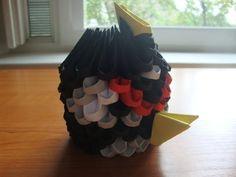 3D origami mini black bird Origami Videos, 3d Origami, Bird, Minecraft, Black, Design, Paper, Paintings, Manualidades