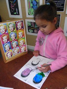 andy warhol for kindergarten - maybe try watercolour pencils? Kindergarten Art Lessons, Art Lessons Elementary, School Art Projects, Art School, Art Visage, Montessori Art, Montessori Elementary, Atelier D Art, Creation Art