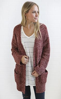 This cardigan is guaranteed to steal your heart. It features a super soft chenille knit fabric and has two side pockets. It's relaxed fit is perfe Crochet Cardigan, Knitted Fabric, Boutique Clothing, Cardigans, Sweaters, Graphic Tees, Knitting, Uni, Rome