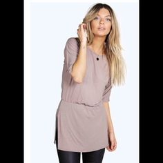 Sold Out Split Side Rouche Waist Tunic BNWOT - no longer in stock online. Boohoo. Boohoo Tops Tees - Short Sleeve