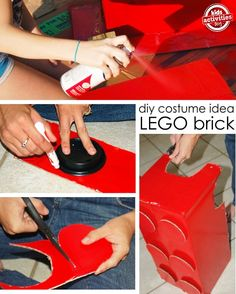 How to make a lego costume from a recycled cardboard box. Perfect for Halloween!