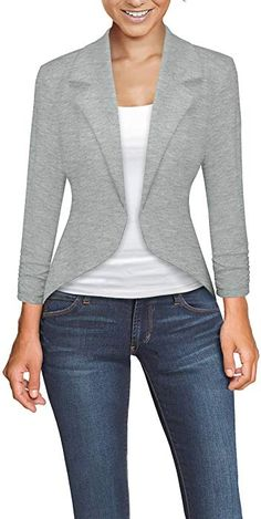 Hybrid & Company Womens Casual Work Office Open Front Blazer Jacket Made in USA Work Casual, Casual Wear, Casual Outfits, Women's Casual, Casual Blazer Women, Blazers For Women, Blazer Fashion, Fashion Outfits, Work Attire