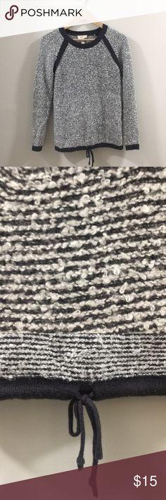 Loft striped sweater Striped loft sweater. Nice detail- draw string bottom! ⚪️⚫️🔳🔲 fits like an XS LOFT Sweaters Crew & Scoop Necks