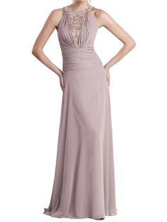 Trendy Chiffon Blush Beaded Halter Sleeveless Floor Length A-line Mother of the Bride Dress