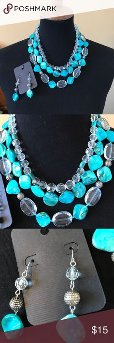 """Necklace and Earrings Set Handmade tiered set with teal and clear stones with metal spacers •. Earrings with fishhooks backs • Measures 9"""" from of clasp to bottom of third strand. Jewelry Necklaces"""