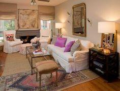 designer Julie Dodson. Roman shades hung at ceiling level