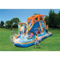 Banzai Plummet Falls Adventure Inflatable Backyard Kids Water Slide and Pool 191124903251 Pool Play, Pool Toys, Pool Party Kids, Kid Pool, Pool Fun, Outdoor Toys, Outdoor Play, Commercial Water Slides, Banzai Water Slide