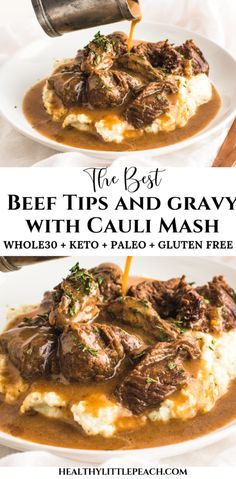 Savory tender beef sirloin tips drenched with brown gravy and served over cauliflower mash. This meal is not only delicious, but it is also Keto, and Paleo compliant. dinner ideas Beef Tips & Gravy over Cauliflower Mash Keto, Paleo) - Healthy Little Peach Sirloin Tips, Beef Sirloin, Paleo Recipes, Low Carb Recipes, Cooking Recipes, Paleo Meals, Healthy Meals, Beef Tip Recipes, Cooking Pasta