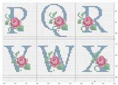 Ponto Cruz -Abecedário Rosas (P,Q,R,V,W,X)