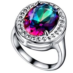Silver Plated Rainbow Topaz Oval Ring Size P   eBay                                                                                                                                                     More