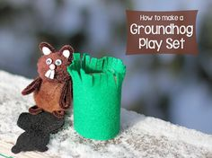 Groundhog Play Set Learn how to make your own groundhog complete with shadow and burrow! Isnt it adorable? The post Groundhog Play Set was featured on Fun Family Crafts. Diy Craft Projects, Craft Tutorials, Fun Crafts, Crafts For Kids, Holiday Crafts, Holiday Fun, Craft Ideas, Pipe Cleaner Crafts, Toilet Paper Roll Crafts