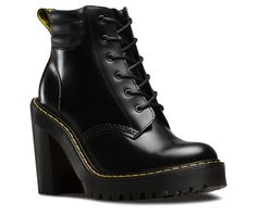 PERSEPHONE  The 6-eye Persephone boot is part of the Seirene collection. In bold shiraz black leather they're instant statement-makers- with heavily grooved air-cushioned soles, yellow stitching and a high heel. The padded collar is proven to add attitude to any look.