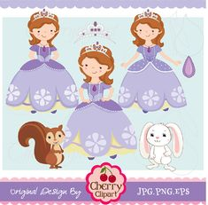Fairytale Princess 3 -Sofia  Princess- Princess Digital Clipart Set for-Personal and Commercial Use on Etsy, $4.50