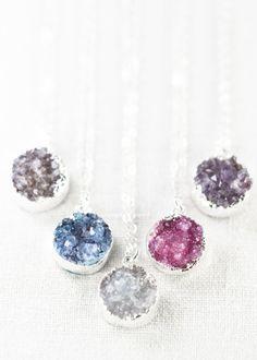 Noelani - (no eh LAH nee) - heavenly mist.  Gorgeous silver druzy pendant necklace.https://www.etsy.com/listing/170186667