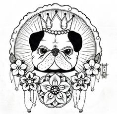 Pug byKim-Anh Nguyen      I did this sketch commissioned by Haylee so I ask that no one else go getting this tattooed. thank you :-)