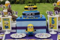 Despicable Me Minions birthday party dessert table! See more party ideas at CatchMyParty.com!