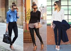 Looks para trabalhar e estudar Fashion Flats, Fashion Outfits, Womens Fashion, Casual Chic, Casual Wear, Black Pants Outfit, Penelope, Work Looks, College Outfits