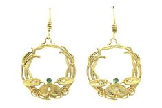 Calling all Art Nouveau lovers! Original antiques dated 1910, with intertwining vines and tendrils extending from a central flower that dangle and sway with every movement. Kissed with a bright emerald at their center and 3 shimmering diamonds on the petals. You will love the feeling you get wearing these heirlooms. #artnouveau #earrings #hoops #goldhoops #hoopearrings #artnouveauearrings #estatejewelry #estatejewelery #vine #vines #antique #antiqueearrings #vintage #treasurehunt #emerald
