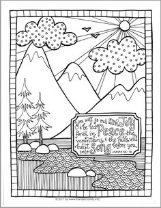 Free printable Scripture-based coloring pages from www.flandersfamil a ne ---CLICK MORE PICTURE--- Bible Verse Coloring Page, Coloring Book Pages, Coloring Pages For Kids, Coloring Sheets, Camping Coloring Pages, Scripture Art, Bible Art, Printable Scripture, Free Printable