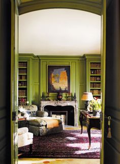 Decorator Timothy Corrigan's restored Chateau du Grand-Lucé, Green Library