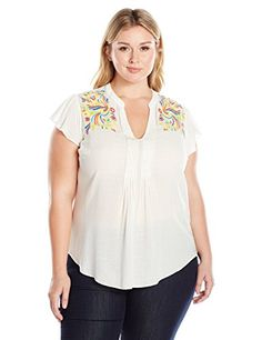 Melissa McCarthy Seven7 Womens Plus Size Split Neck Sleeveless Embroidered Blouse Egret Multi Embroidery 2X >>> More info could be found at the image url.-It is an affiliate link to Amazon.