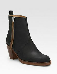 ACNE Contrast Pistol Leather Ankle Boots