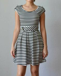 Trendy Clothing, Fashion Shoes, Women Accessories | Geraldine Striped Black and White Dress | LoveShoppingMiami.com
